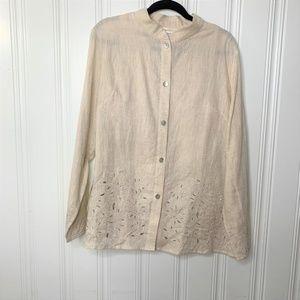 Katherine Kelly Two Piece  Linen Blouse Combo Sz L